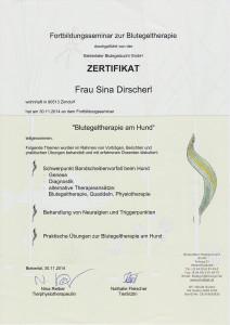 Zertifikat Blutegeltherapie am Hund
