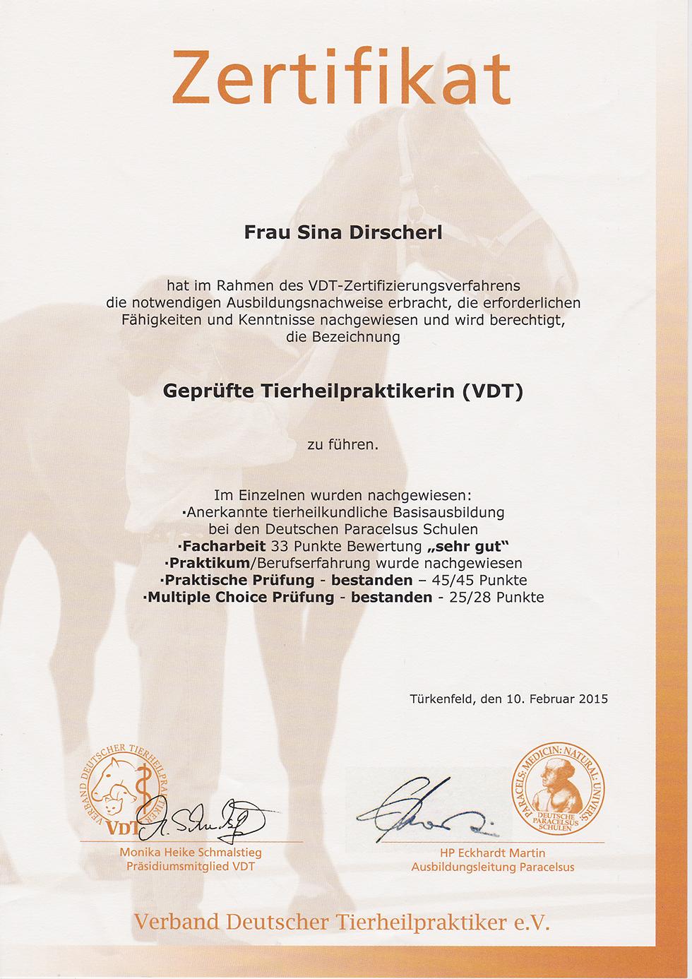 Zertifikat - Geprüfte Tierheilpraktikerin