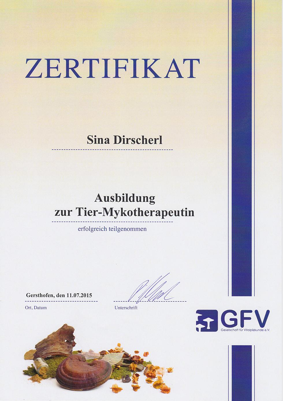 Zertifikat - Ausbildung zur Tier-Mykotherapeutin