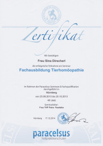 Zertifikat Tierhomöopathie