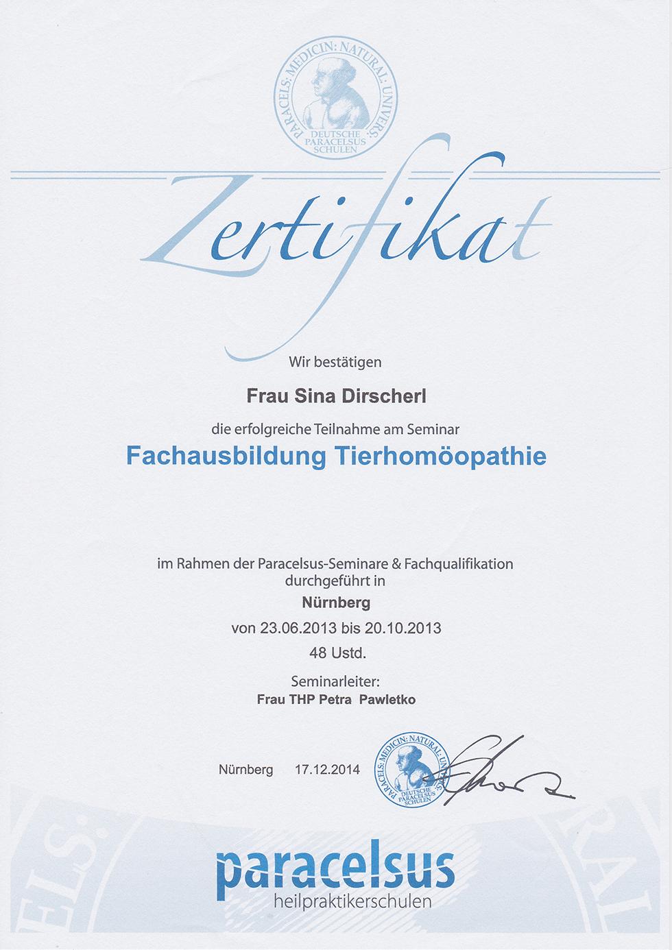 Zertifikat - Fachausbildung Tierhomöopathie