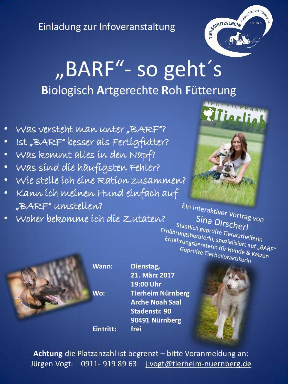 kostenlose Infoveranstaltung BARF –  so geht´s Tierheim Nürnberg