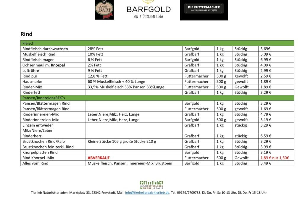 neue Preisliste Barfprodukte